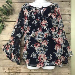White House Black Market | floral blouse